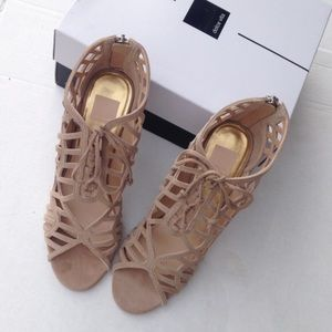 New Nude leather cage heels sz 10